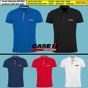 Mens-Case-IH-Agriculture-Slim-Polo-T-Shirt-EMBROIDERED-Tractor-Logo-Tee-Gift