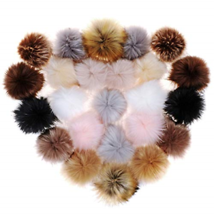 24 Pieces Faux Fur Pom Pom Balls DIY Fluffy Pompoms with Elastic Loop for Hats