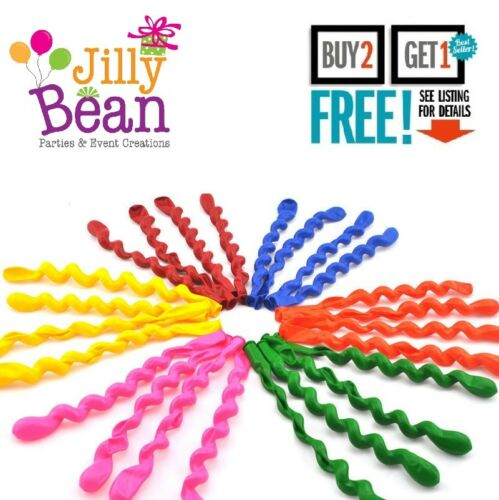 1 x Spiral Latex Mixed Colour Long Balloons Party Decoration Wedding Birthday