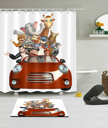 "60//72/"" Animal Joyride Waterproof Fabric Bathroom Decor Shower Curtain /&Mat /&Hook"