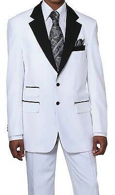 Men's Two Button High Fashion Suit with pants in White with Black by Milano 7022