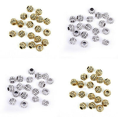 20pcs Antique Golden/Silver Stone Diy Large Big Hole Spacer European Beads 8x6mm