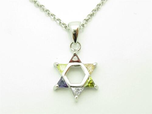 PLATINUM STERLING SILVER DIAMOND SET MULTI SAPPHIRE STAR OF DAVID NECKLACE GIFT