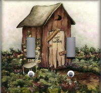Outhouse 2 Home Wall Decor Double Light Switch Plate