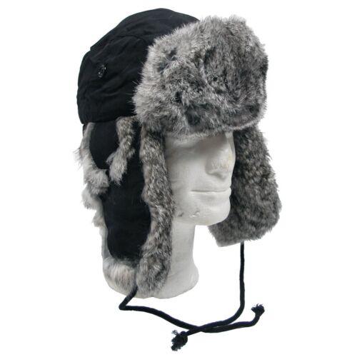 NEU Winter Fellmütze mit Echtfell mit Steppfütterung schwarz /& oliv Gr S-XL