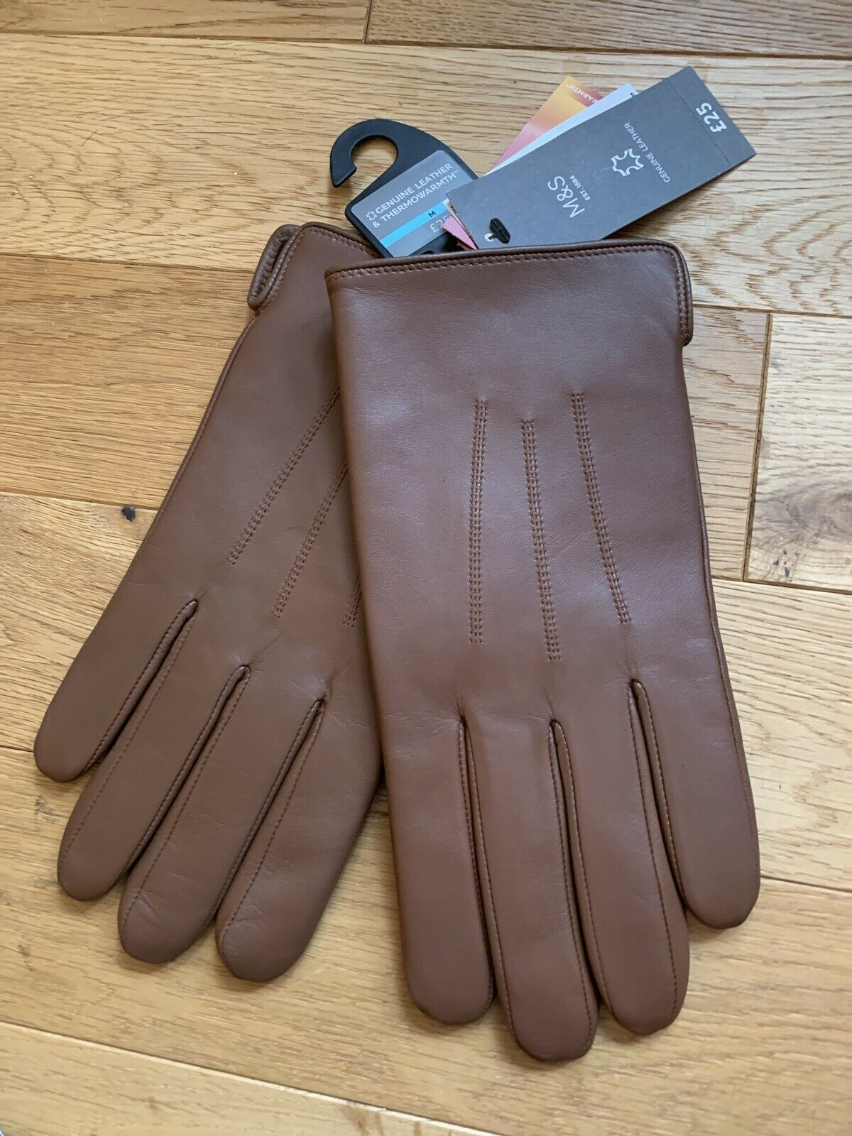 BNWT - Marks Spencer Mens Tan Leather Gloves Thermowarmth lining size Medium