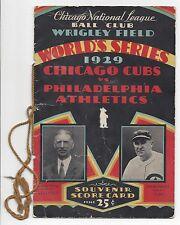 1929 World Series program Chicago Cubs Philadelphia A's Game 2 Jimmie Foxx HR