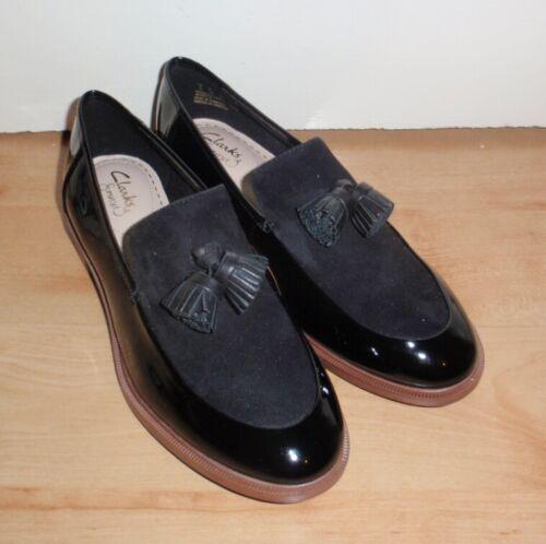Nuevo Y en Caja Clarks Mujeres Taylor Primavera Negro Patente Combi zapatos talla UK 4 EUR 37