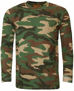 Men-039-s-Game-Camouflage-T-Shirt-Army-Camo-Woodland-Top-Hunting-Shooting-Fishing