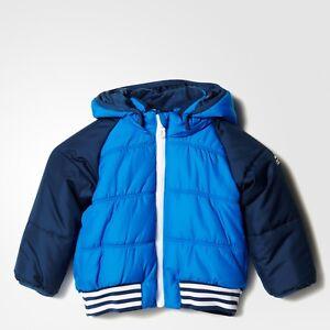 50a785b9e adidas baby boys blue padded hooded coat. Infant jacket. Age 0-4Y | eBay