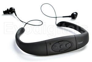 EVO-BLACK-8GB-WATERPROOF-MP3-MUSIC-PLAYER-SPORT-SWIMMING-FM-RADIO-EARPHONE