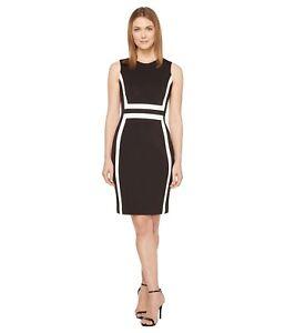 10 di taglia blocchi a bianco 4 12 Exquisite Vestito 14 Calvin Klein nero 8 6 Nwt colore gwqvYYn46x