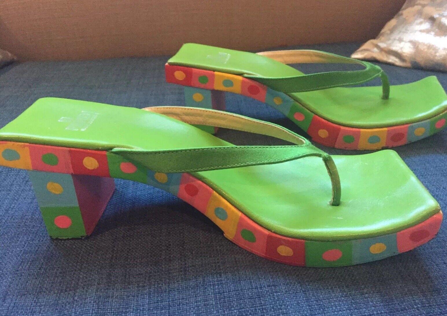vendita di offerte Fendi vintage 1990s wood wood wood heel sandal rare   a prezzi accessibili