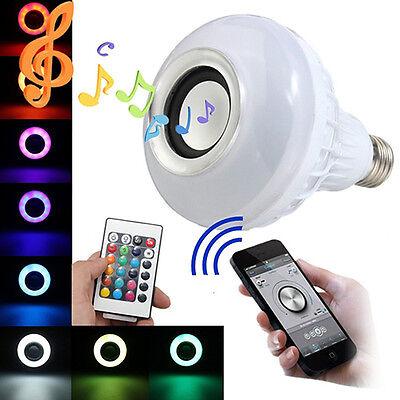 E27 LED RGB Bluetooth Speaker Bulb Wireless 12W Music Play Light Lamp Popular