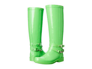Womens Boots COACH Lori Fluorescent Green Shiny Rubber
