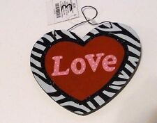 RED BLACK PINK & WHITE ZEBRA PRINT LOVE VALENTINES DAY WOOD HEART DECORATION