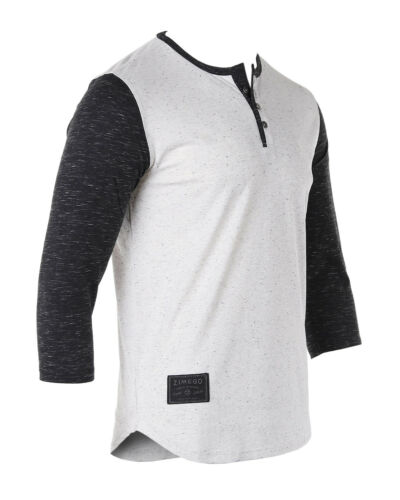 ZIMEGO Mens Contrast 3//4 Sleeve College Baseball Button Henley Athletic T Shirt