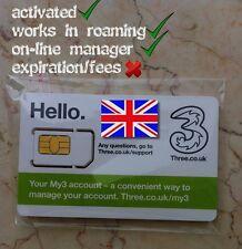 "UK ""THREE"" sim card activated! regular, micro, nano! Great Britain, EU, Europe"