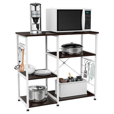 3-Tier Microwave Oven Cart Bakers Rack Kitchen Storage Shelves Stand Metal  White | eBay