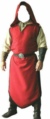Medieval Costumes Theater Knight Crusader Tunic Red Cape Surcoat Reenactment