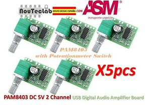 5pcs-PAM8403-5V-2-Channel-Digital-Audio-Amplifier-with-Potentionmeter-Switch