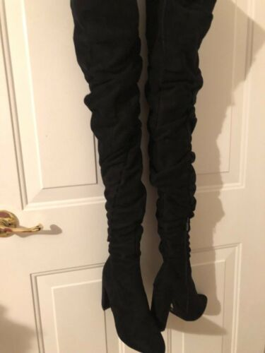 Fetish hip high boots with attached belt black 5 c
