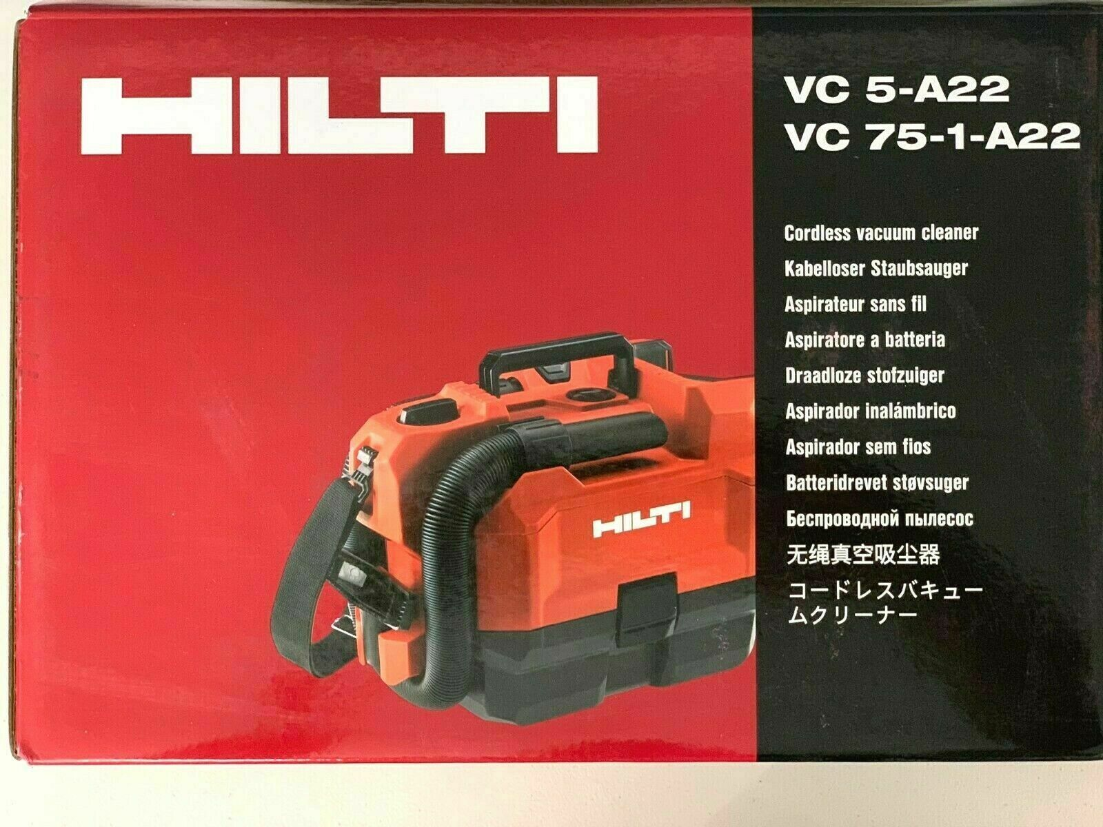 Hilti  VC 75-1-A22 Cordless Portable Vacuum Cleaner  NEW in box