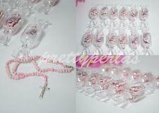 12 Baptism Candy Party Favors Pink Rosary Recuerdos de Bautizo Roario Bautismo