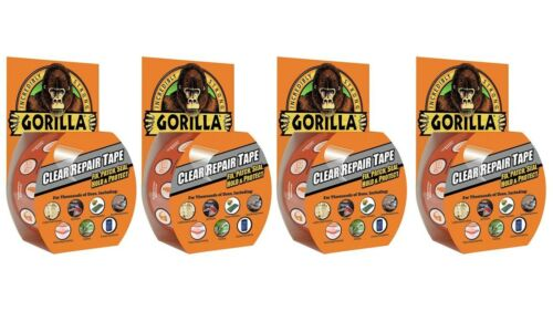 "4 Pack 1.88/"" x 9 yd. Clear Gorilla 6027002-4 Clear Repair Duct Tape"