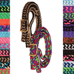BRAIDED-KNOTTED-Poly-Nylon-BARREL-RACING-ROPING-CONTEST-REINS-Color-Choice
