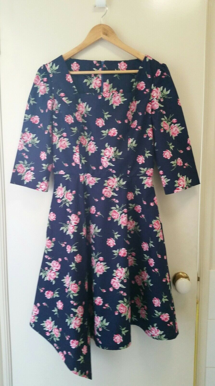 NEw Vintage inspired peony pink fit and flare dress, size 10-12