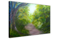 Forest Foot Path Oil Painting Re-Print Framed Canvas Wall Art Pictures Home Deco