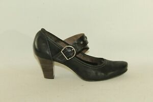 Black-Leather-TAMARIS-Buckle-Studs-Pointed-Mid-Heel-Office-Shoes-Size-6-39