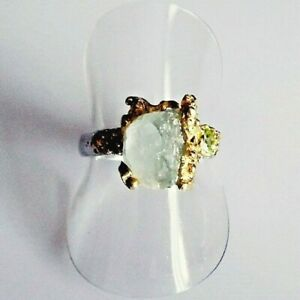 Unikat Aparter Natürlicher Aquamarin Peridot Ring 925 Silber Gold 17,8 mm 56