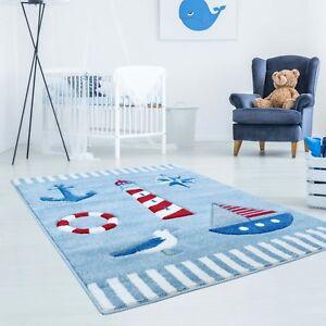 Details zu Kinderteppich Teppich Kinderzimmer Glanzgarn Maritim Segelboot  Funk Möwe Blau