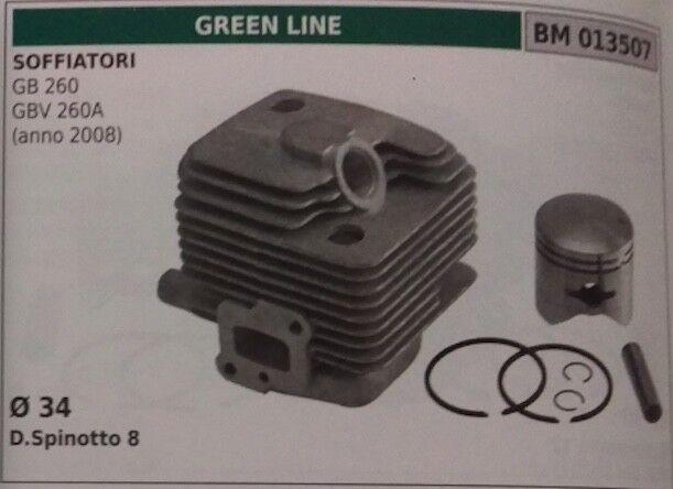 Zylinder und Kolben komplett Gebläse Grün line GB GBV 260a Ø 34 (2008)