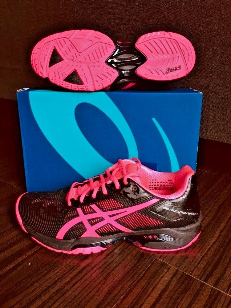 New Asics Womens Running Shoe Gel-Solution Speed 3 3 Speed Black/Hot Pink/Silver sizes b2ff7c