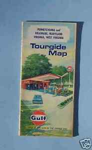 Details about 1969 Pennsylvania Delaware VA WV MD road map Gulf oil