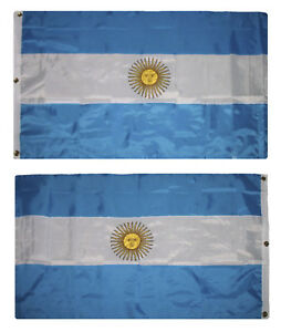 3x5-Embroidered-Sewn-Argentina-300D-Nylon-Flag-3-039-x5-039-3-Clips-Heavy-Duty