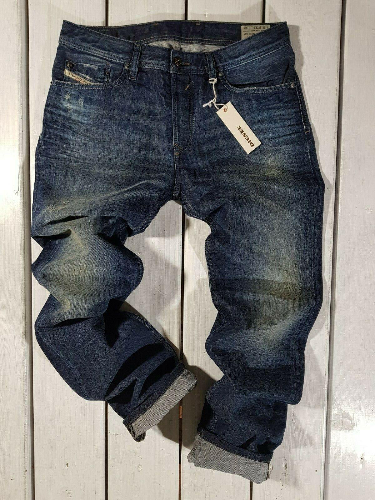 New Diesel Men's Jeans Waykee 0837A Regular Straight Stonwashed bluee RRP