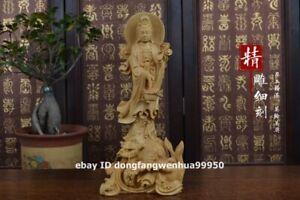 "6.08/"" HEIGHT HAVE AROMA HARD WOOD CARVED KWAN-YIN GUAN YIN STATUE"