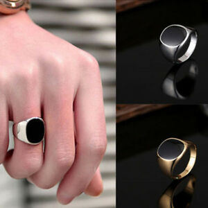 Solid-Polished-Stainless-Steel-Band-Biker-Men-Signet-Ring-Black-Silver-Size-7-10