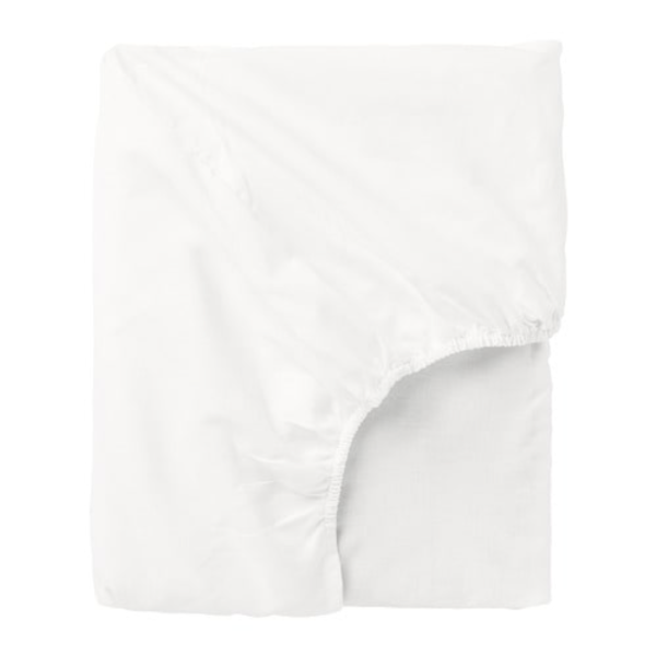 White Single Bed Fitted Sheet With Elasticated Corners Stretch NEW IKEA Knoppa