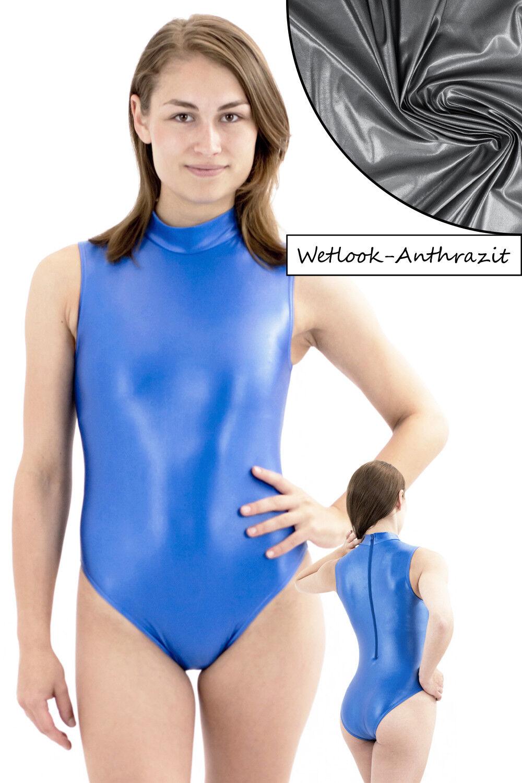 Damen Wetlook Body RRV ohne Ärmel stretch shiny elastisch elastisch elastisch Hauteng stark glänzend cbcef5