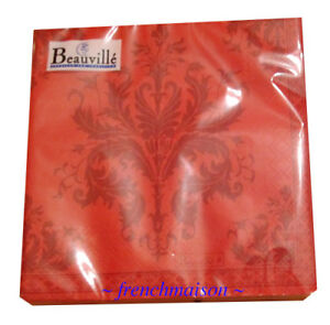 3-Pak-BEAUVILLE-Luxury-PAPER-NAPKINS-French-3-Ply-Lunch-Picnic-Party-Topkapi-Red
