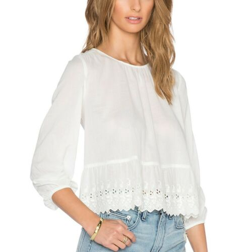 The GREAT. The Honey Top in White Eyelet Trim Size