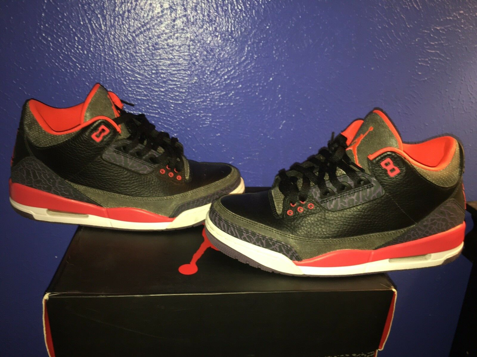 Nike Air Jordan Retro 3 Black Red Bright Crimson Purple White SZ 9 (136064-005)