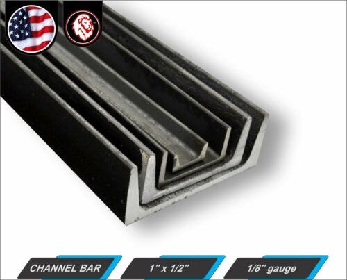 """12/"""" inch Long 1-ft Mild Steel 1/"""" x 1//2/"""" Channel Bar 1//8/"""" gauge"""