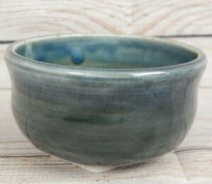 Thrown-Pottery-Small-Round-Planter-With-Drain-Hole-Artist-Mark-8-Point-Star-Blue