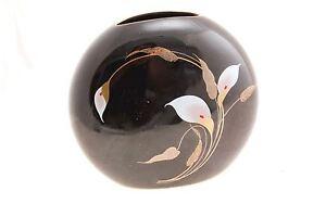 OTAGIRI-Porcelain-Vase-Calla-Lily-Flowers-Black-Oval-Black-Nice